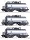 Tillig 01007  TT - Güterwagenset der DR, bestehend aus drei Kesselwagen Zae, vermietet an VEB EVW Schwedt